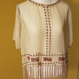 Sheer blouse white beads and tassels